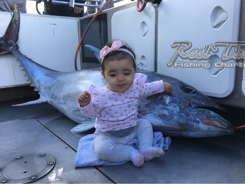 Baby Catches huge Bluefin Tuna